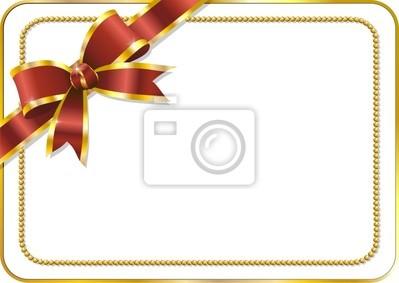 Fiocco su Biglietto Auguri-Red Bow on Greeting Card-Vector