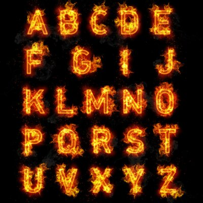 Wall mural Fire font text all letters of alphabet on black background