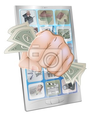 Fist smashing out of phone with money