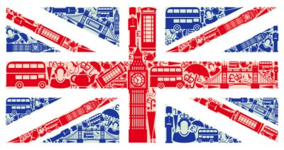 Wall mural Flag of England from symbols of the United Kingdom and London