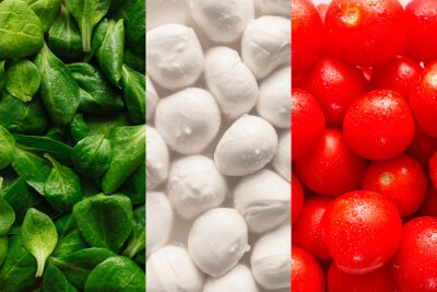 Wall mural Flag of Italy made of basel leaves, mozzarella cheese, and cherr