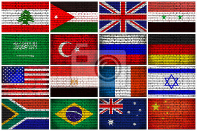 Flags on the brick wall