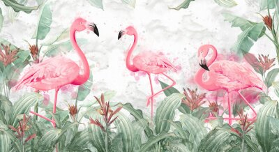 Wall mural flamingos in tropical streams with textured background, photo wallpaper