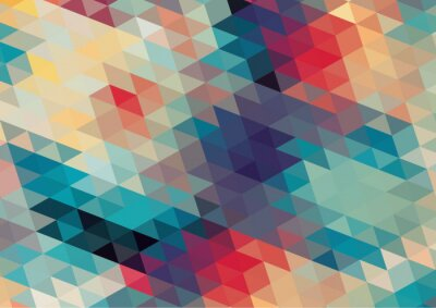 Wall mural flat design geometric  retro colorful background