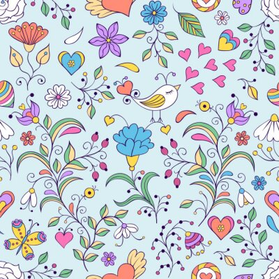 Wall mural Floral background with bird and flowers