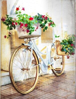 Wall mural floral bike - vintage card