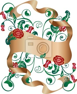 floral design element with scroll