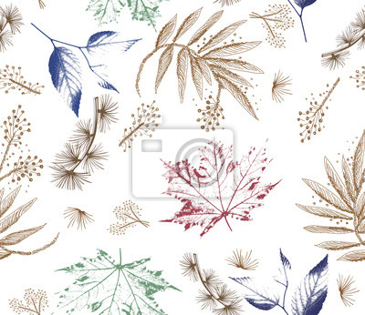 Wall mural Floral forest seamless pattern. Wild Flowers and leaves background