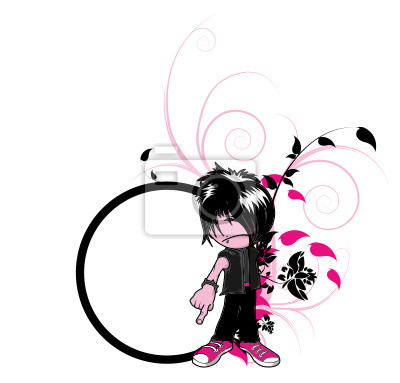 floral frame with emo silhouette