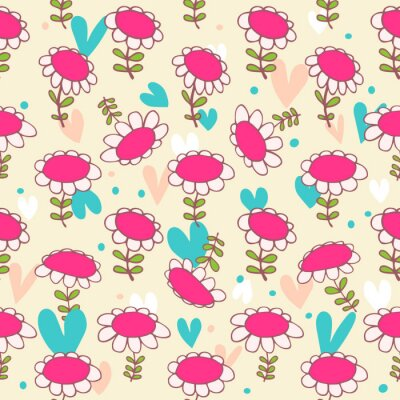 Wall mural Floral seamless baby pattern