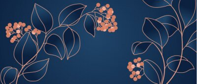 Wall mural Floral seamless navy blue and copper metallic plant background vector for house deco