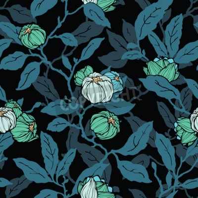 Wall mural Floral seamless pattern. Abstract ornamental flowers. Flourish leaves background
