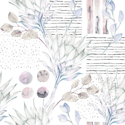 Wall mural Floral seamless pattern. Abstract watercolor illustration. Grunge background