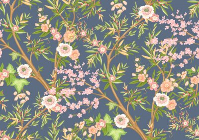 Wall mural Floral seamless pattern in chinoiserie style. Vector illustration.