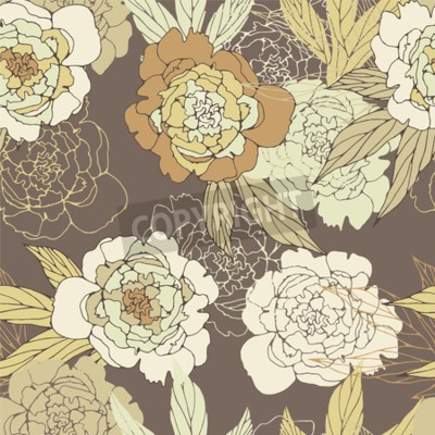 Wall mural Floral seamless pattern with peony.