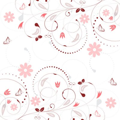 Wall mural Floral vector background with vintage flower pattern and butterflies.