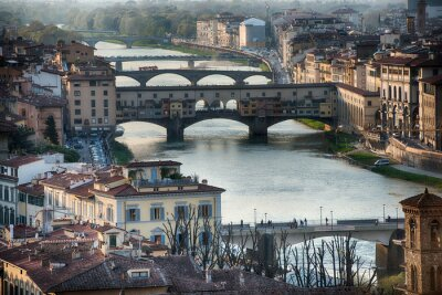 Wall mural Florence Ponte Vecchio sunset view