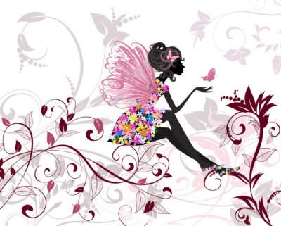 Wall mural Flower Fairy with butterflies