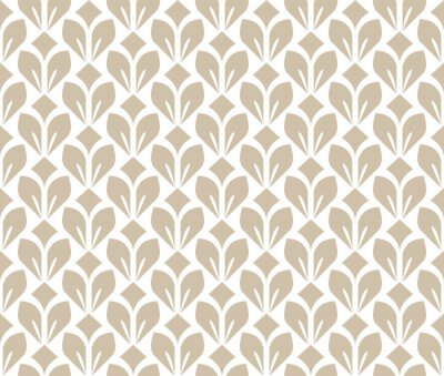 Wall mural Flower geometric pattern. Seamless vector background. White and beige ornament. Ornament for fabric, wallpaper, packaging. Decorative print