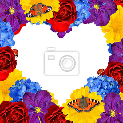 flower heart with butterfly isolated