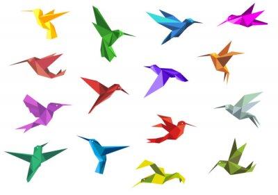 Wall mural Flying origami hummingbirds or colibri birds
