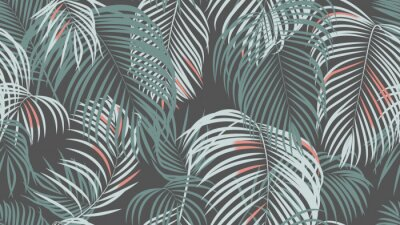 Wall mural Foliage seamless pattern, simple palm leaves on dark grey