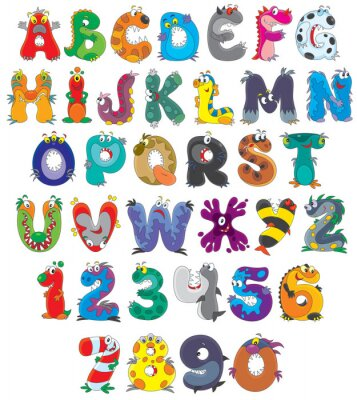 Wall mural Font Monsters