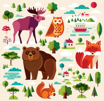 Wall mural Forest animals colletion