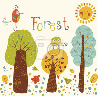 Forest vector background with colorful trees,birds, sun