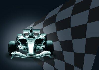 Wall mural formula 1 car and flag