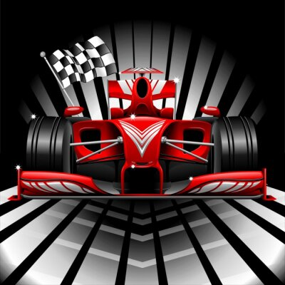 Wall mural Formula 1 Red Race Car and Chequered Flag