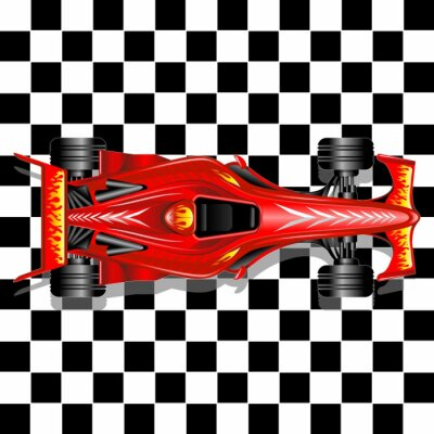 Wall mural Formula 1 Red Race Car on Checkered Background