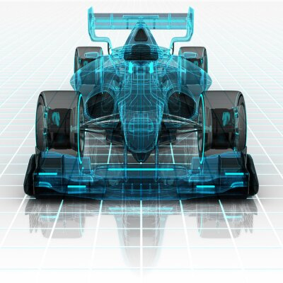 Wall mural formula car technology wireframe sketch front view