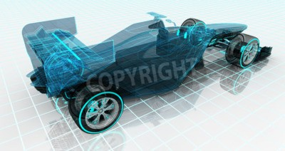Wall mural formula car technology wireframe sketch upper back view motorsport product background design of my own