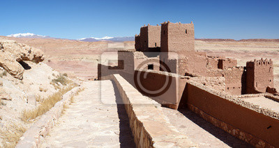 Fortified village with Atlas mountains in the background