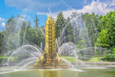 Fountain in  form of  ear in  middle of  pond in  Moscow park