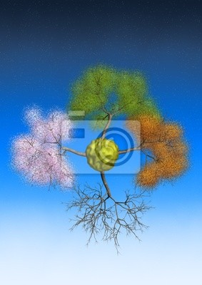 Four seasons 3d trees on lonely small planet