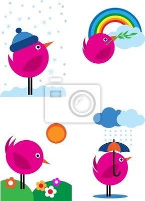 Four seasons pink birds icons - 3