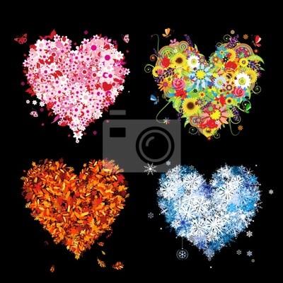 Four seasons - spring, summer, autumn, winter. Art hearts