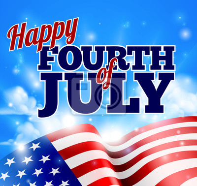 Fourth of July American Flag Background Sky