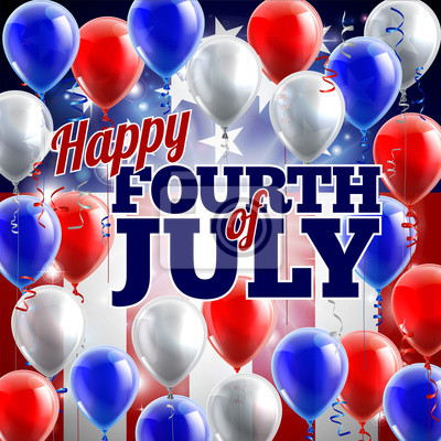 Fourth of July American Flag Balloons Background