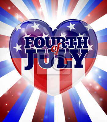 Fourth of July Independence Day Heart Design