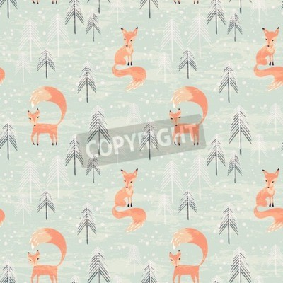 Wall mural Fox in winter pine forest. Seamless pattern with hand drawn design for Christmas and New Year greeting cards, fabric, wrapping paper, invitation, stationery. Grunge seamless vector texture is in the s