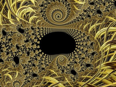 Wall mural Fractal created based on Gold and natural ornaments.