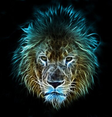 Wall mural Fractal digital fantasy art of a lion on a isolated background