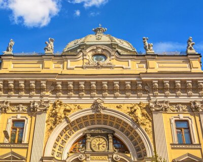 Fragment of building of  famous Sandunovsky baths in Moscow