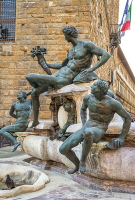Fragment of the Neptune Fountain in a square in Florence