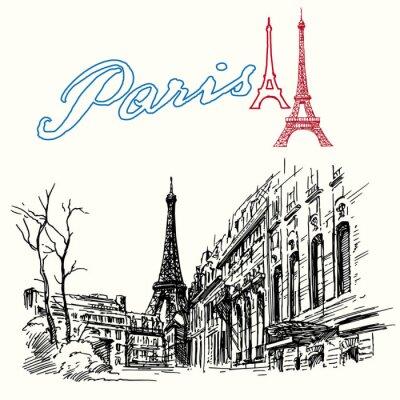 Wall mural France, Paris - Eiffel tower - hand drawn set