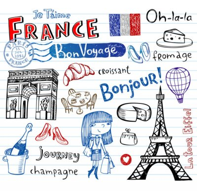 Wall mural France symbols as funky doodles