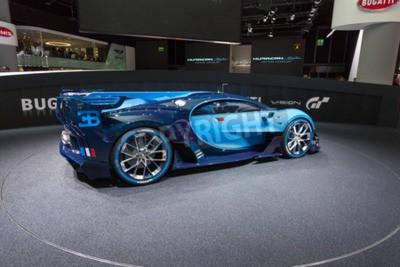 Wall mural Frankfurt, Deutschland - September 15, 2015: Bugatti Vision Gran Turismo Concept presented on the 66th International Motor Show in the Messe Frankfurt